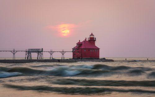 Hazy Lighthouse Sunrise