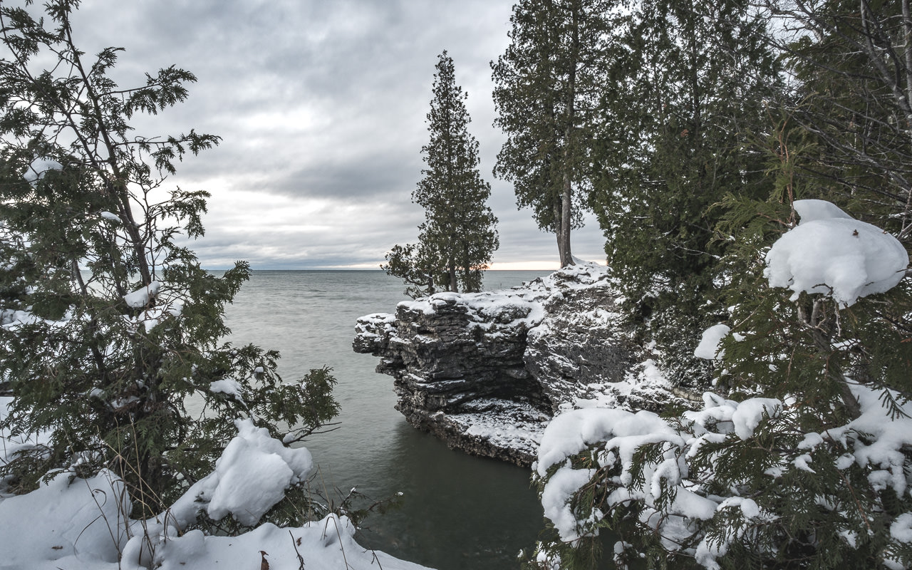 First Snow at Cave Point