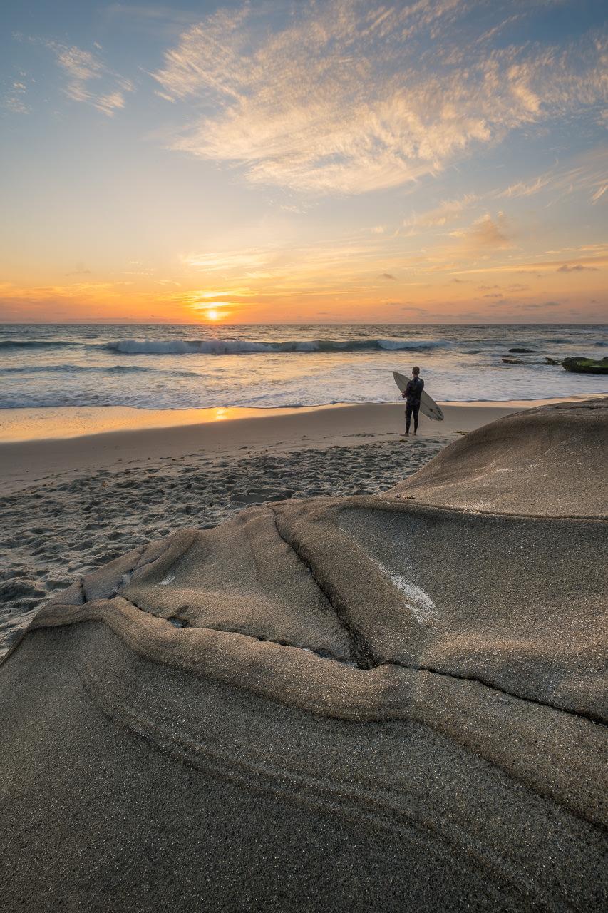san diego sunset, surfer
