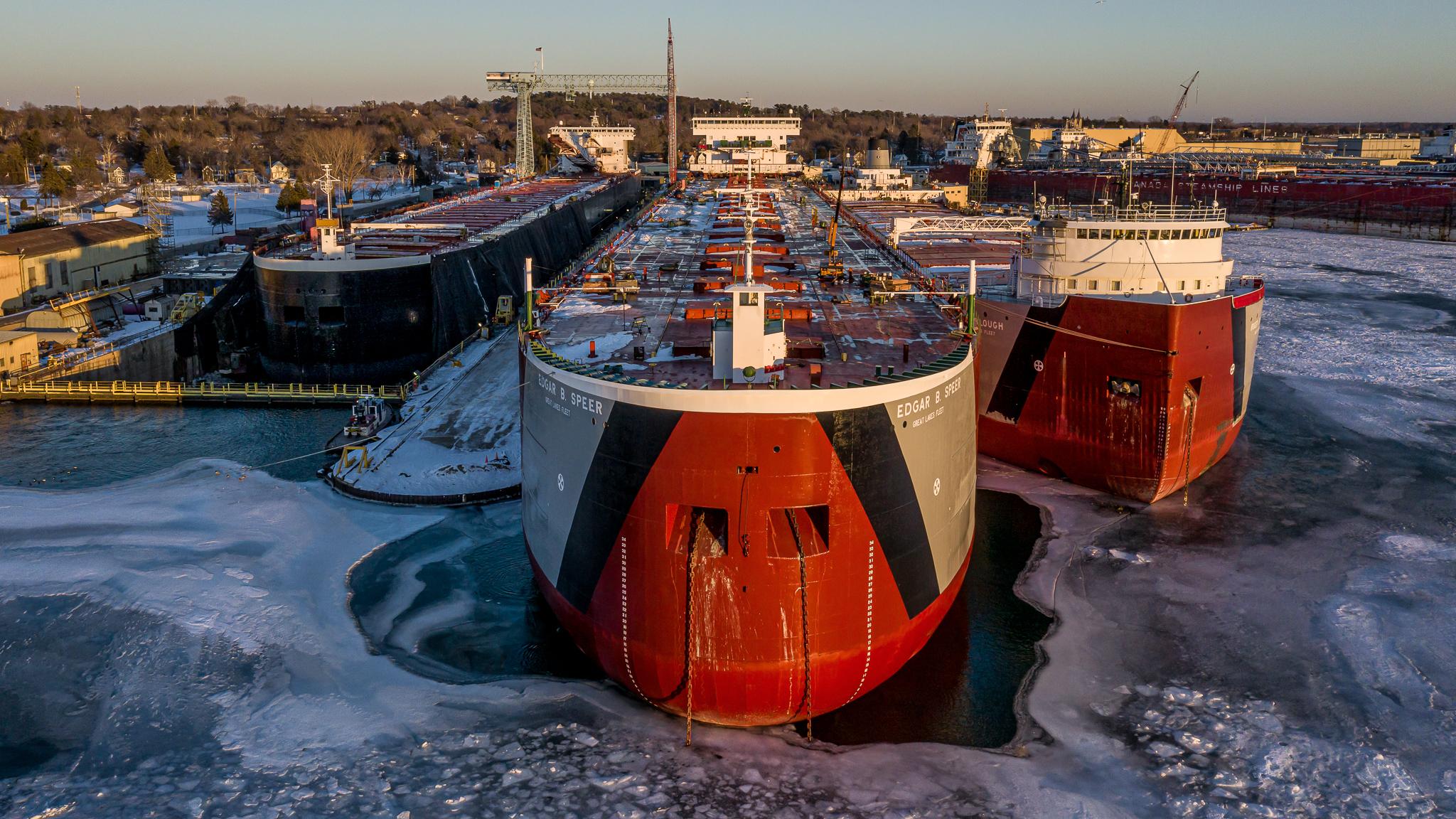 freighter ships docked at bay shipbuilding in sturgeon bay, door county, wisconsin