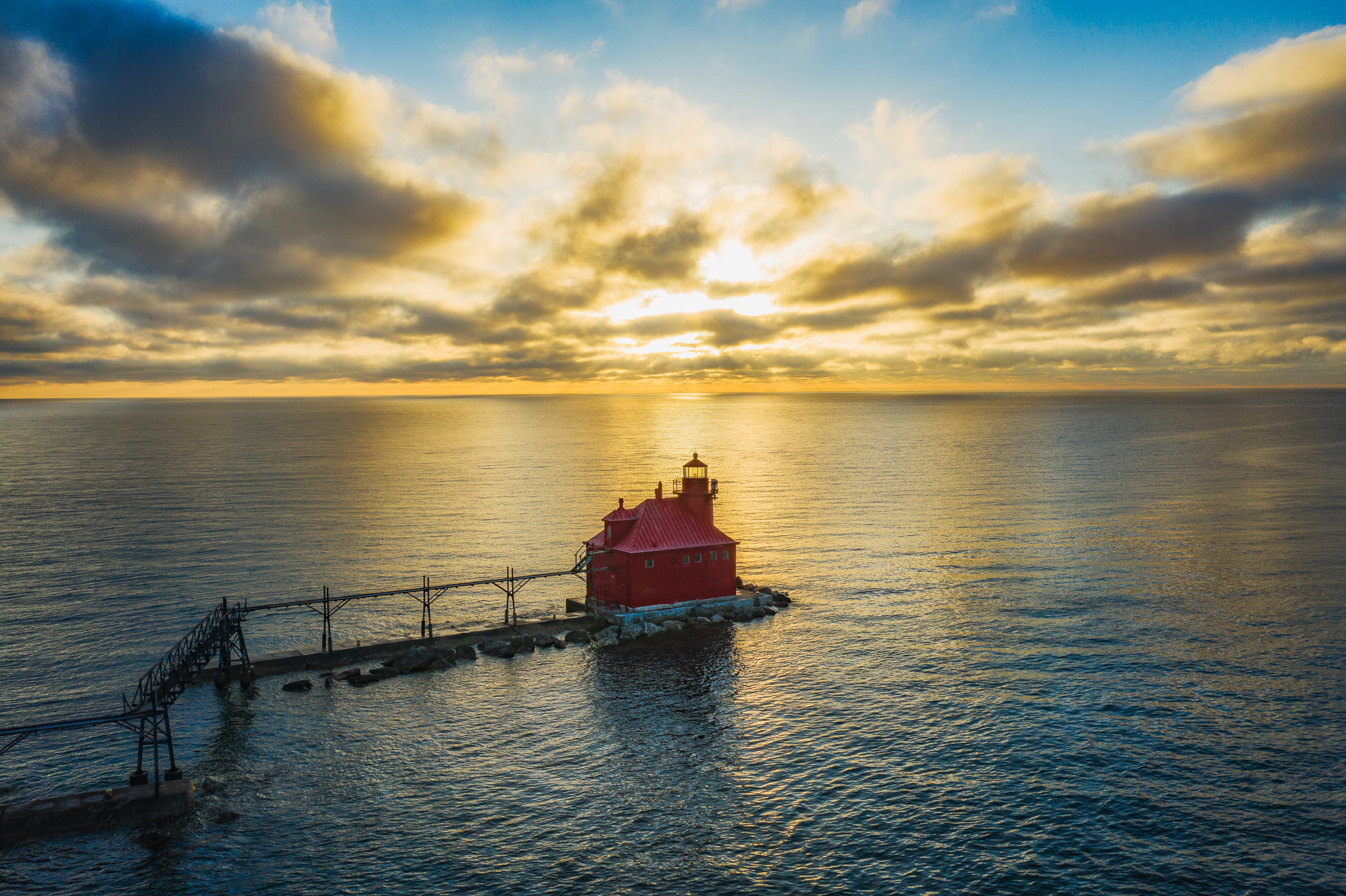 sturgeon bay, sunrise, lighthouse, drone, aerial, clouds over lake michigan, door county, wsiconsin, door county photographer