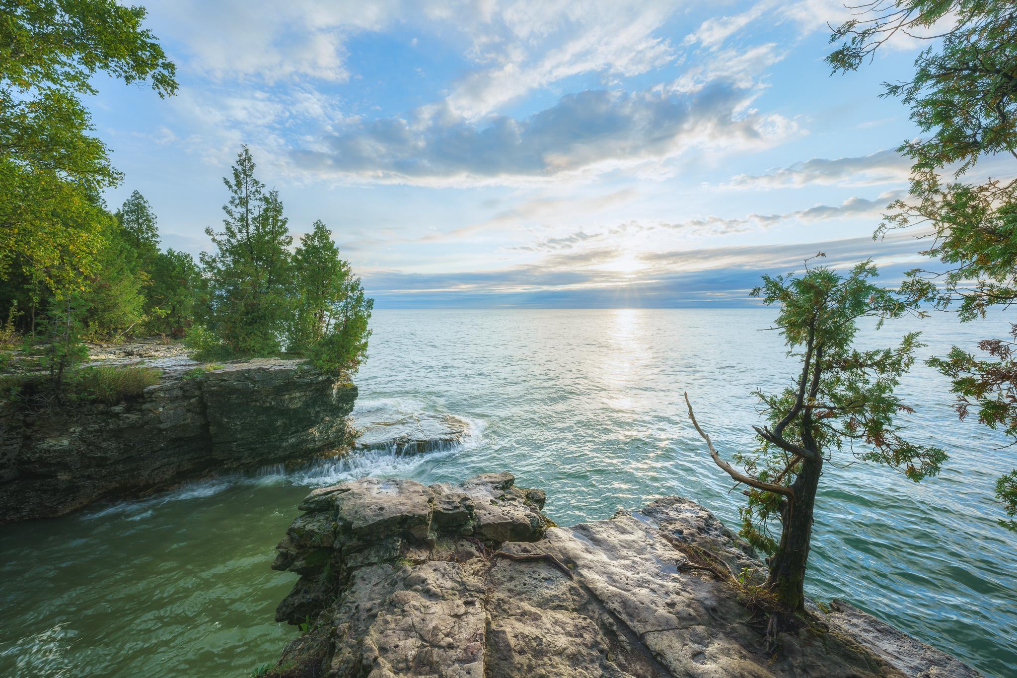 cave point, door county, sunrise, lake michigan, door county photographer