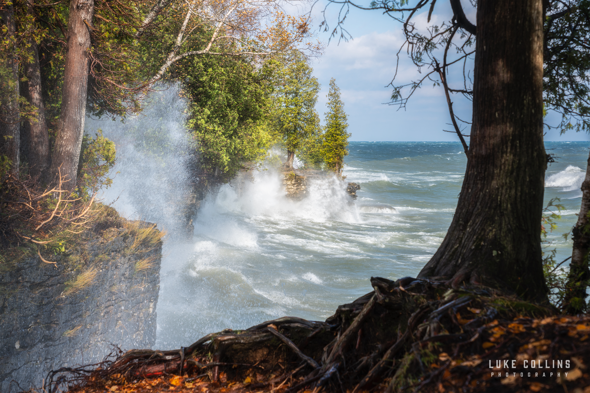 cave point county park, door county, lake michigan, windy lake, waves