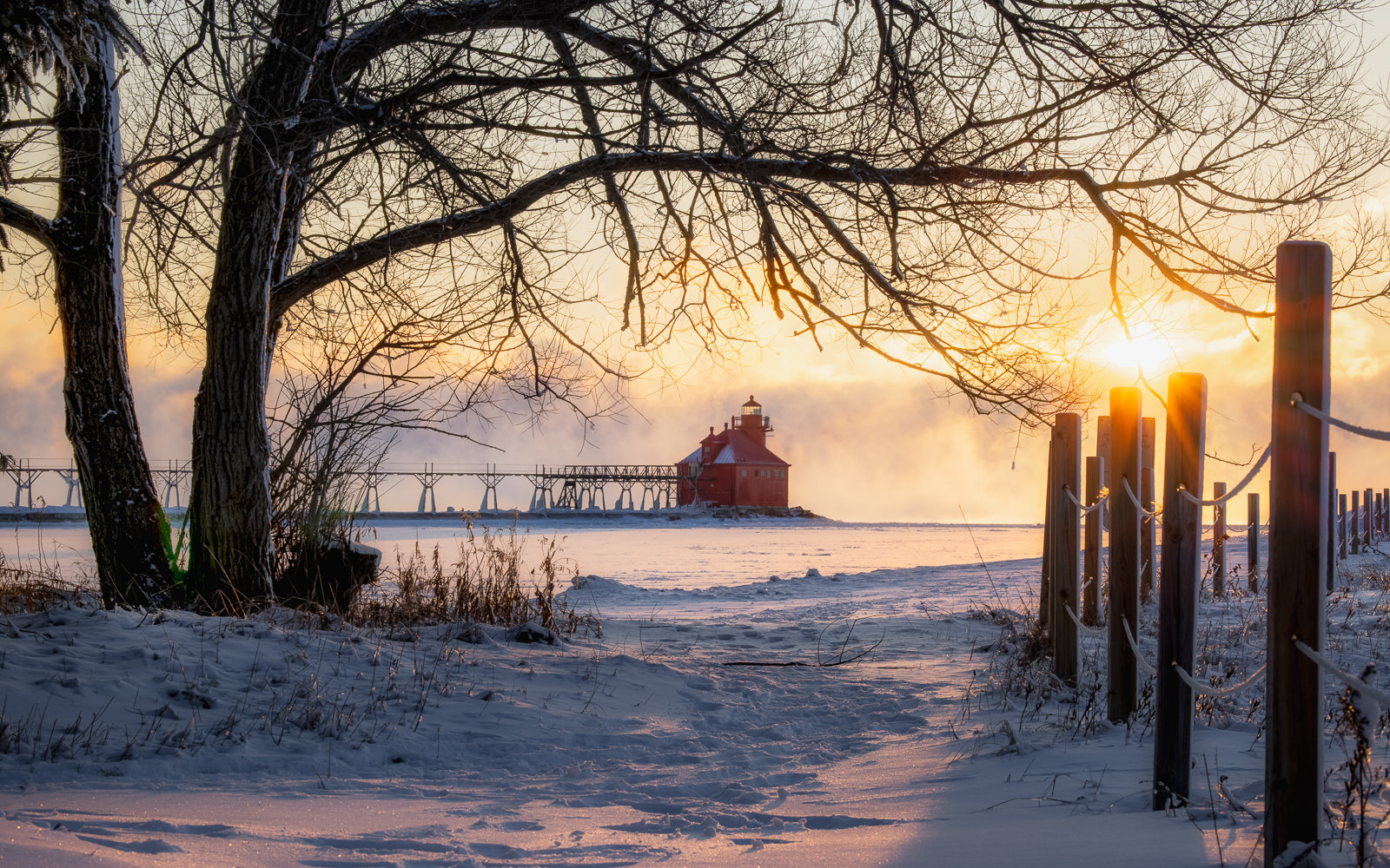 sturgeon bay lighthouse on a winter morning sunrise